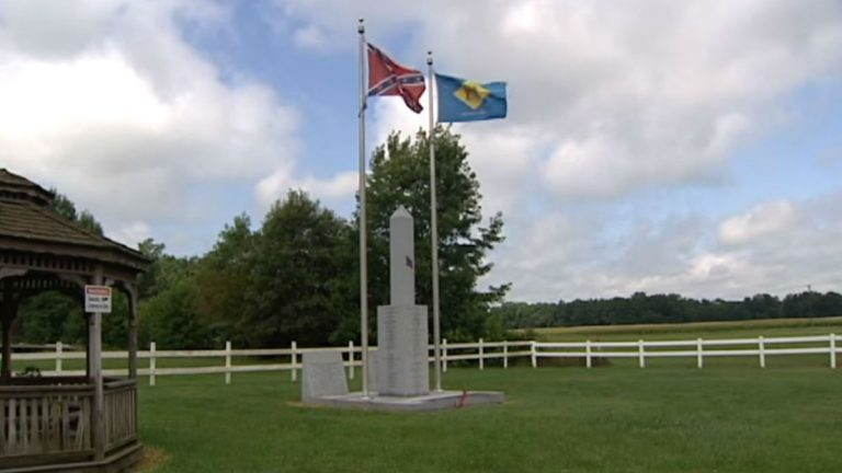 This monument to Delawareans who fought for the Confederacy was unveiled near Georgetown, Delaware in 2007.(File/WHYY)