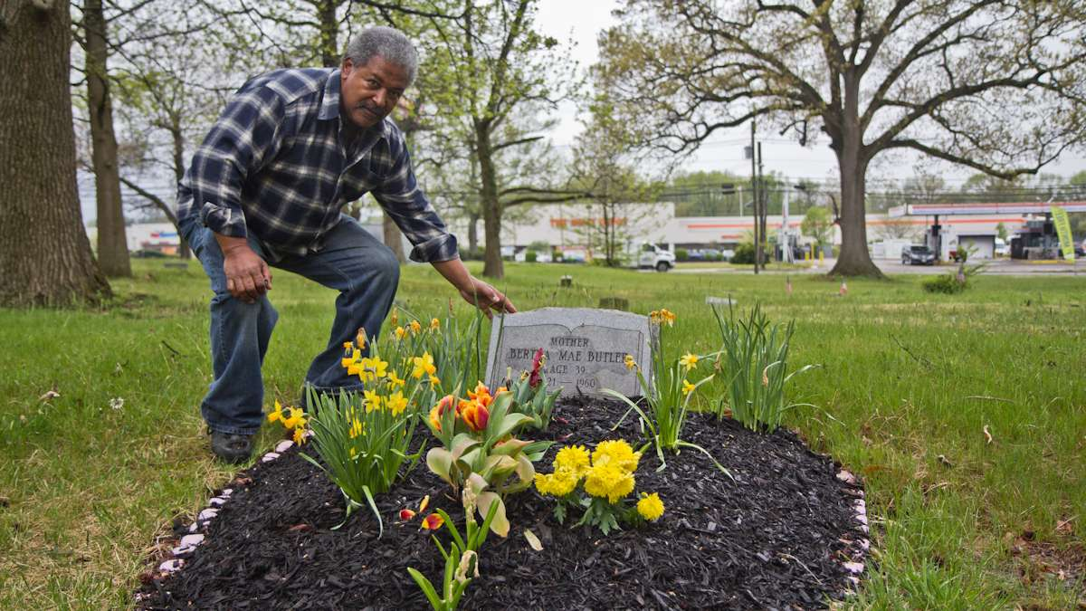 Neil Butler maintains his mother's grave and often volunteers to help upkeep Mt. Peace Cemetery in Lawnside, N.J.