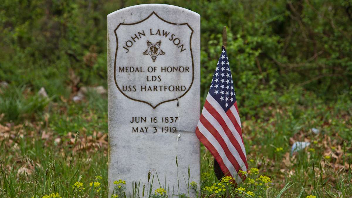 A dedicated tombstone marks the accomplishments of John Lawson, one of the few African American Civil War Veterans to receive the medal of honor.