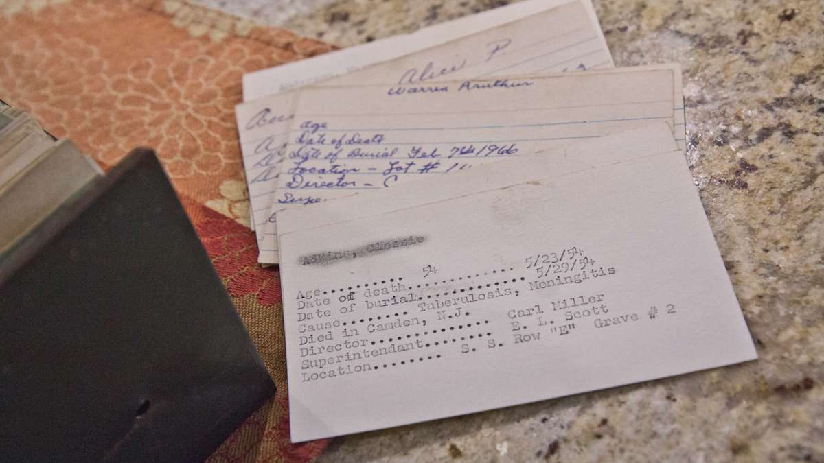 Cemetery records in the possession of Yolanda Romero, secretary of the Mount Peace Cemetery association.