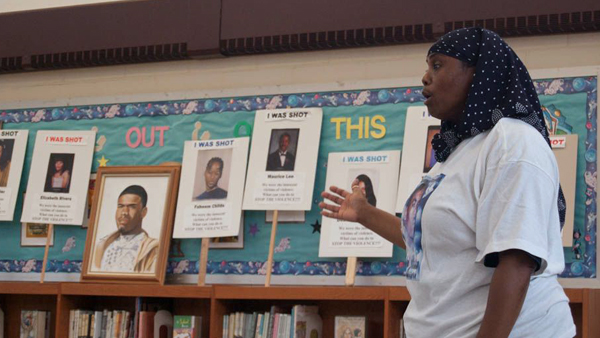 Movita Johnson-Harrell began talking to kids about gun violence after her son was killed in 2011. (Ann Marie Awad/for NewsWorks)