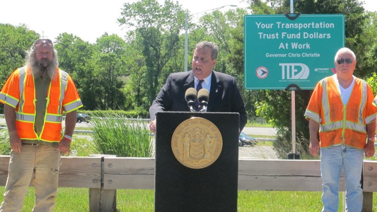 Governor Christie says the gas tax hike is being used to help improve the state's roadways. (Phil Gregory/WHYY)