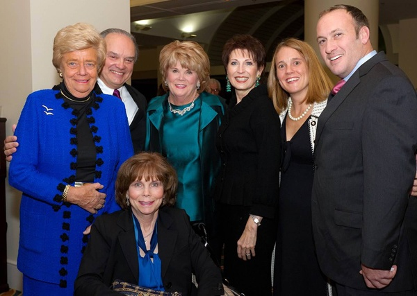 <p><p>Dinner of Champions honoree Judith M. von Seldeneck (left), cochairs Peter J. Dean and Molly D. Shepard, Dianne Semingson, Ashley Lunkenheimer, Kevin von Seldeneck and Amy Knight (seated) (Photo courtesy of Mark Garvin)</p></p>