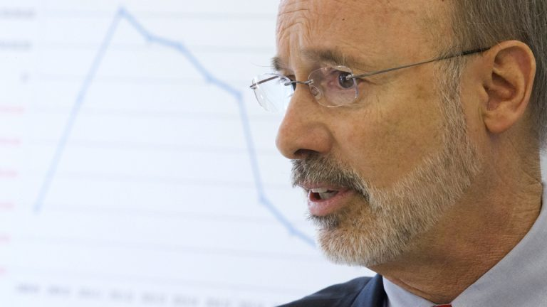Pennsylvania Governor-elect Tom Wolf discusses the state budget during a news conference in Philadelphia. (AP Photo/Matt Rourke)