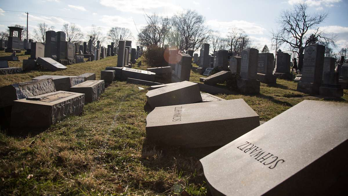 Hundreds of headstones were toppled at Mt Carmel Jewish Cemetery in Northeast Philadelphia on Sunday, Feb 26, 2017. (Emily Cohen for NewsWorks)