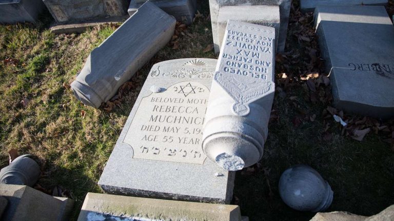 Widespread vandalism at the Mt. Carmel Jewish Cemetery in North East Philadelphia where hundreds of headstones were toppled and broken over night Sunday. (Emily Cohen for NewsWorks)