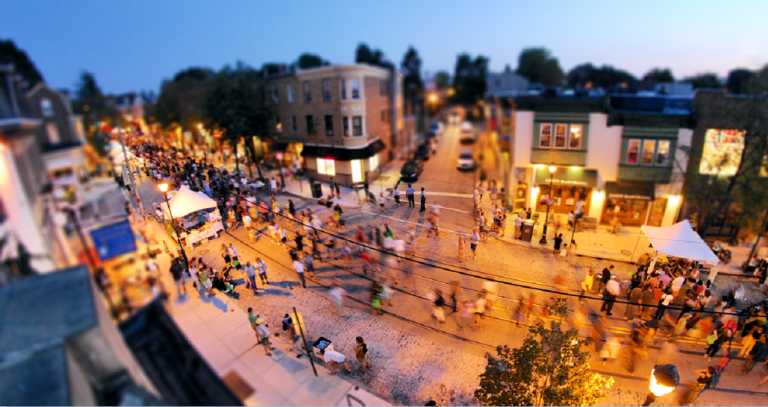 From above the Sedgwick Theater, a view of the 2012 Mt. Airy Night Market. (Bas Slabbers/for NewsWorks)