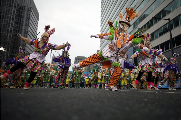 <p>People participate in the 113th annual Mummers Parade in Philadelphia, on Tuesday Jan. 1, 2013. (AP Photo/Joseph Kaczmarek)</p>