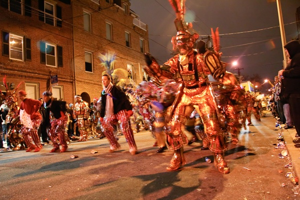 "<p><p>At night, after the parade, mummers march down ""Two Street"" in South Philly — another peculiarly Philadelphian tradition. (Image courtesy of Kate Devlin)</p></p>"