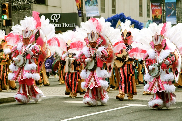 <p><p>A Mummers Parade string band struts up Broad Street toward City Hall. (Image courtesy of Kate Devlin)</p></p>