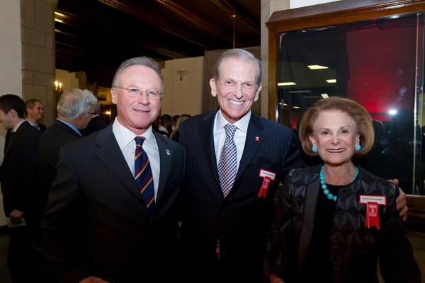 <p><p>M. Moshe Porat, dean of Temple's Fox School of Business and School of Tourism and Hospitality Management (left), with honoree Steven H. Korman, and Korman's sister, Lynne Honickman (Photo courtesy of Ryan S. Brandenberg)</p></p>