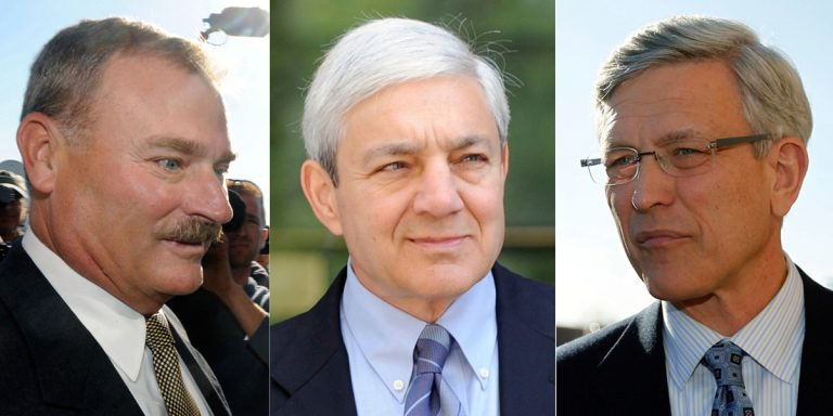 From left, former Penn State Vice President Gary Schultz; for Penn State President Graham Spanier; and former Penn State director of athletics Tim Curley. (AP file photos)