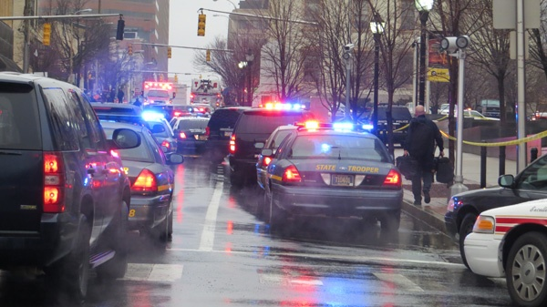 <p><p>King Street was closed from 4th to 8th Street. The courthouse will be closed through Tuesday. (Mark Eichmann/WHYY)</p></p>