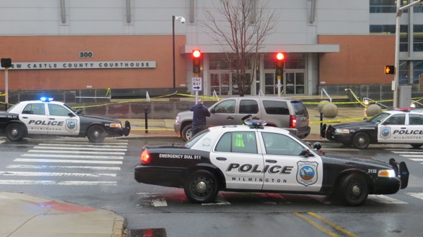 <p><p>Court workers and anyone with court business were kept inside the New Castle County Courthouse for several hours after the morning shooting. (Mark Eichmann/WHYY)</p></p>