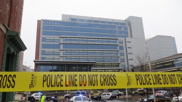 <p><p>Police tape around the New Castle County Courthouse in Wilmington after 8am shooting leaves 3 dead and 2 officers wounded. (Mark Eichmann/WHYY)</p></p>