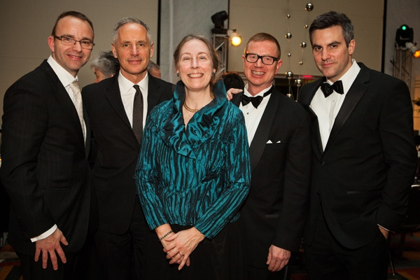 Opera Philadelphia General Director David B. Devan (left) and Silent Night librettist Mark Campbell with Barbara A. Teichert, Production Underwriter for Silent Night, Opera Company Chairman Daniel K. Meyer, and Silent Night composer Kevin Puts (Photo courtesy of Sofia Negron Photography)
