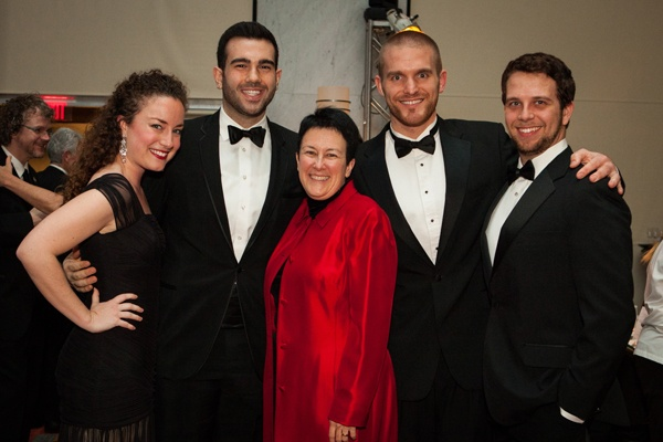 Cold Mountain composer Jennifer Higdon (center) with (from left) Curtis Institute of Music students soprano Rachel Sterrenberg, tenor Roy Hage, baritone Jarrett Ott, and baritone Jonathan McCullough (Photo courtesy of Sofia Negron Photography)