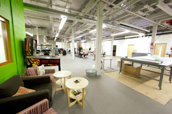 <p><p>The second floor of the building is used for electronics, 3D printing, and large format photo printing. There are small office rooms along the side which members can rent. (Nat Hamilton/for NewsWorks)</p></p>