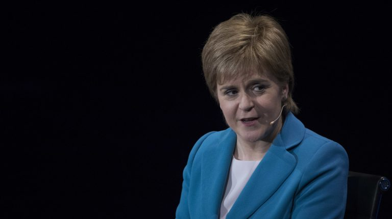 Scotland's First Minister Nicola Sturgeon speaks during the Women in the World Summit at Lincoln Center in New York, Thursday, April 6, 2017. (AP Photo/Mary Altaffer, file)