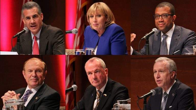 Shown are six of 11 candidates in the June 6 primary race for New Jersey governor (clockwise from top left) Republicans Jack Ciattarelli and Kim Guadagno, and Democrats Jim Johnson, John Wisniewski, Phil Murphy, and Raymond Lesniak. (Emma Lee/WHYY)