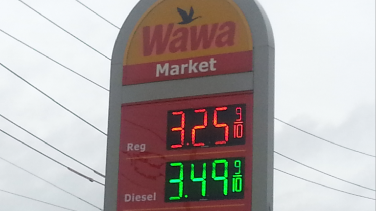 Despite rising gas taxes, prices will be down this holiday weekend. (Tom MacDonald/WHYY)