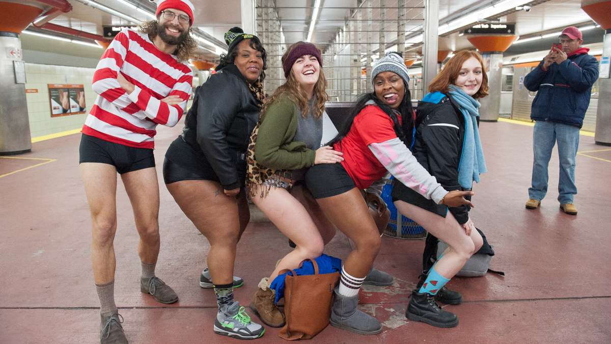 No Pants revelers pose for a photo at the AT&T Station in South Philadelphia.