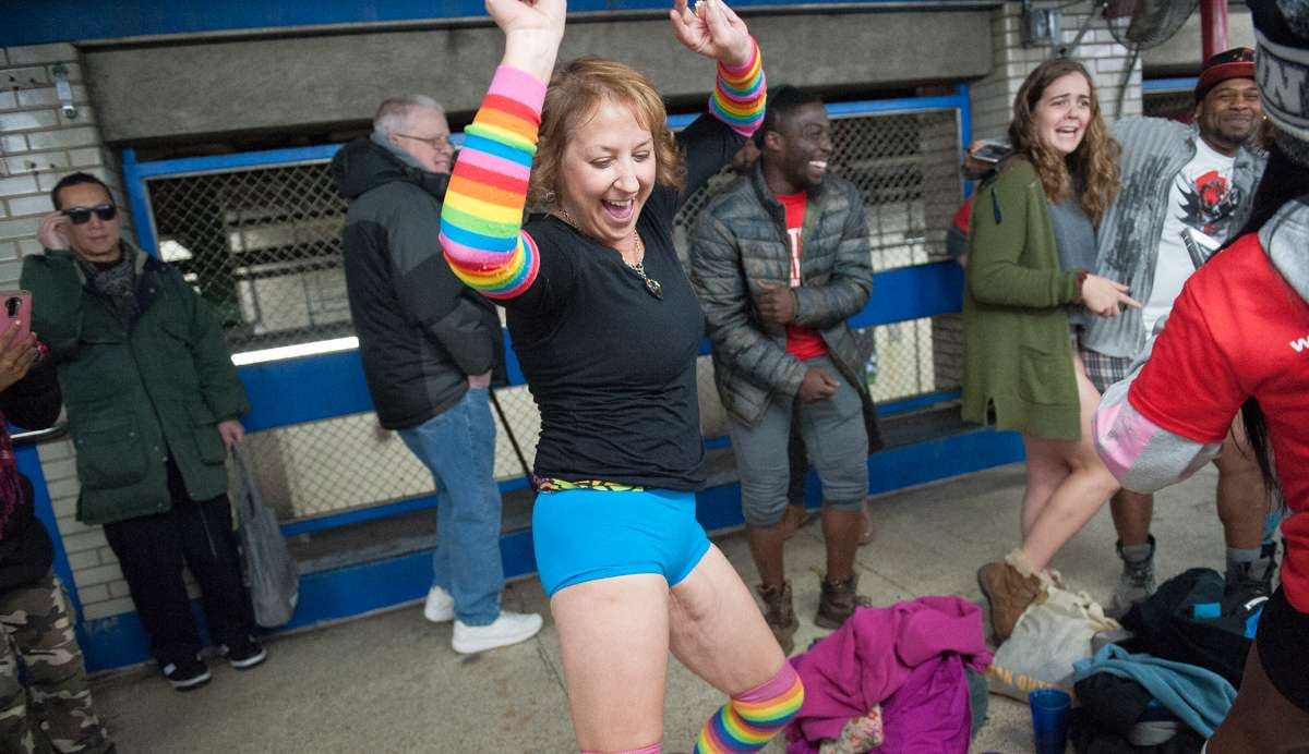 Peggy Kerr dances on the platform of the Market-Frankford Line.