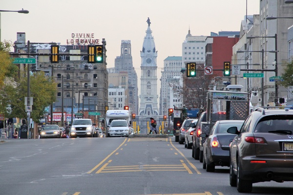 <p><p>The view today of North Broad Street from Girard Avenue looking south toward City Hall. (Emma Lee/for NewsWorks)</p></p>
