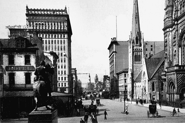 <p><p>The image, facing north from Philadelphia's City Hall, on this 1901 post card shows the statue of Civil War Gen. Fulton Renolds to the left and the Masonic Temple on the far right. (Historical image courtesy of Arcadia Publishing)</p></p>