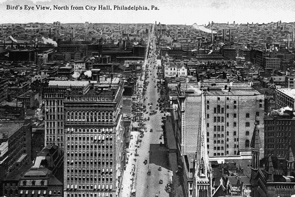 <p><p>A 1910 postcard shows a bird's eye view of North Broad Street taken from the Philadelphia City Hall tower. (Historical image courtesy of Arcadia Publishing.)</p></p>