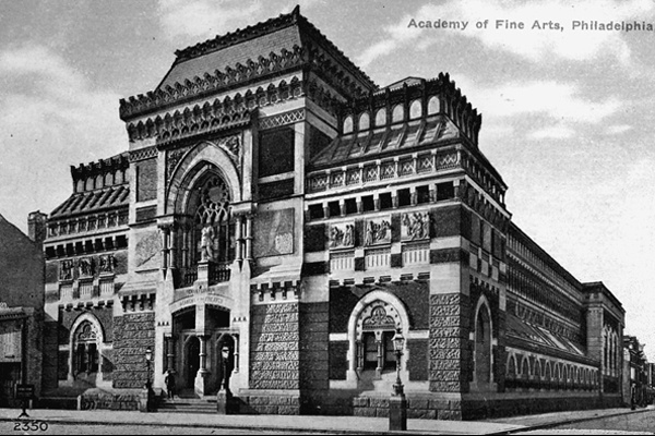 <p><p>The Pennsylvania Academy of Fine Arts by arhitect Frank Furness opened in 1876. (Historical image courtesy of Arcadia Publishing.)</p></p>