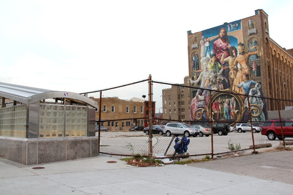 <p><p>The site of the First New Jerusalem Society building at the corner of Broad and Spring Garden streets is now a parking lot. (Emma Lee/for NewsWorks)</p></p>