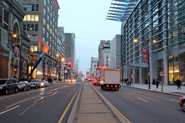 <p><p>Across Broad from the Academy of Fine Arts in 2012 is the Philadelphia Convention Center, where the Odd Fellows Temple, Lyric Theatre and Adelphia Theater once stood. (Emma Lee/for NewsWorks)</p></p>