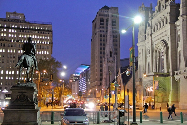 <p><p>The same view in 2012, facing north from City Hall, shows the statue of Civil War Gen. Fulton Reynolds and the Masonic Temple. (Emma Lee/for NewsWorks)</p></p>