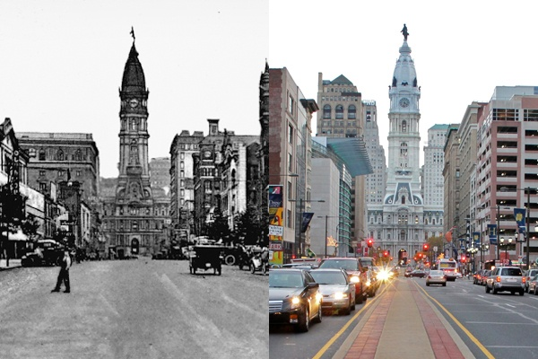 <p><p>A view of Philadelphia's North Broad Street looking south from Vine Street, circa 1910 (left) and 2012 (right). (Historical photo courtesy of Arcadia Publishing.)</p></p>