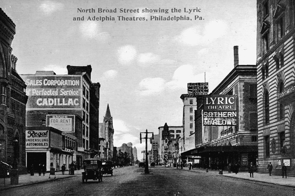<p><p>The Odd Fellows Temple (foreground right), the Lyric Theatre, and the Adelphia Theater were located across the street from the Pennsylvani Academy of Fine Art (far left) in the early 20th century. (Historical image courtesy of Arcadia Publishing.)</p></p>