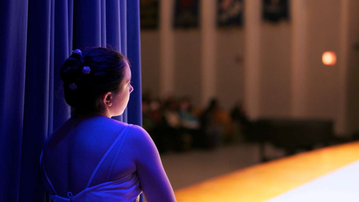 A ballerina waits for her cue to go on stage.(Nathaniel Hamilton/for Newsworks)