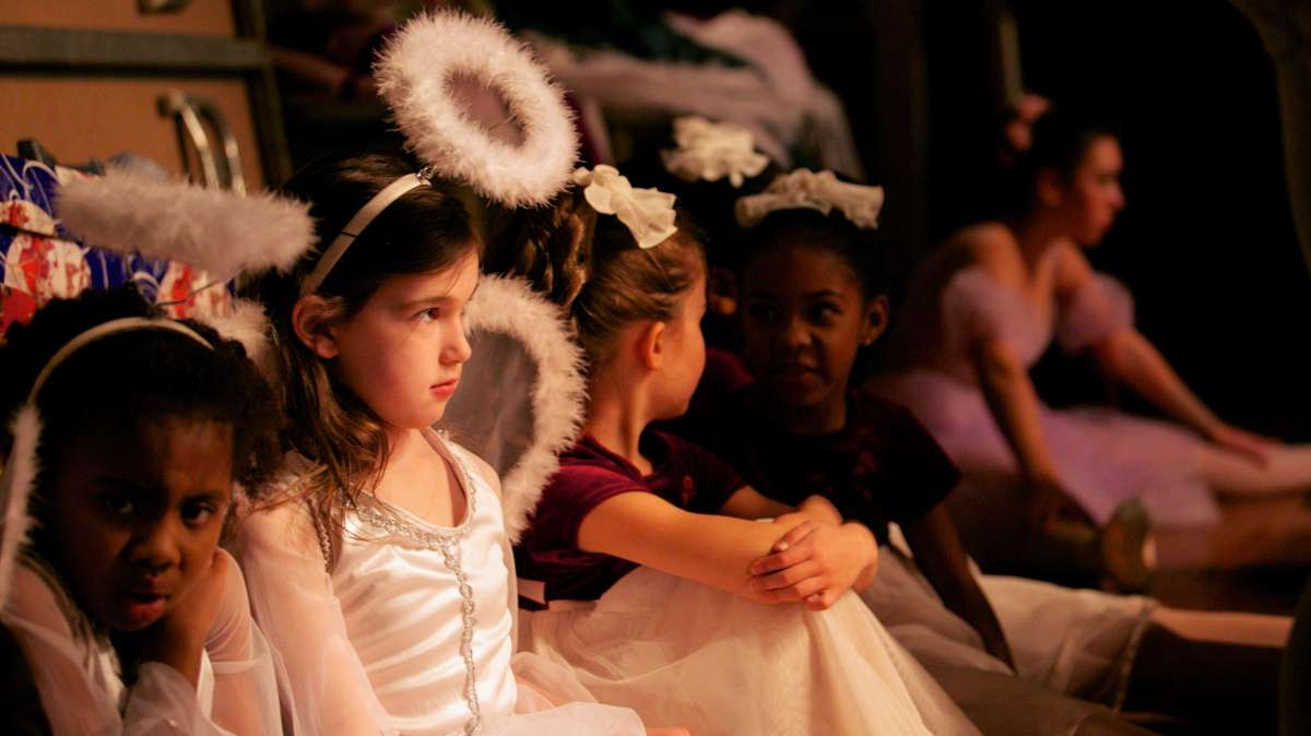 Ballarinas wait backstage for their cue to perform. (Nathaniel Hamilton/for Newsworks)