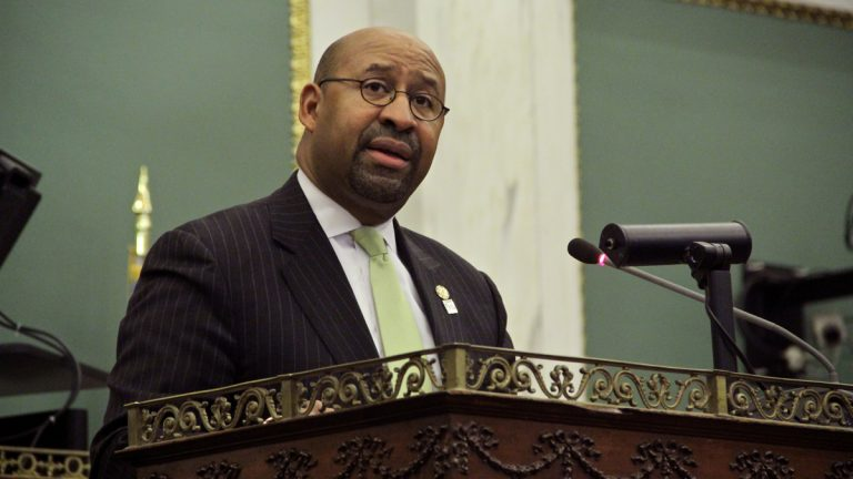 Philadelphia Mayor Michael Nutter delivers his last budget address to City Council. (Emma Lee/WHYY)