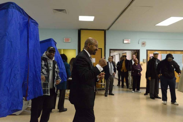 "<p><p>Mayor Nutter walked out of the voting booth in West Philly with two thumbs up saying ""One more for Obama."" (Bas Slabbers/for NewsWorks)</p></p>"
