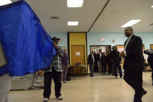 <p><p>Mayor Nutter voted on Overbrook Avenue in West Philadelphia around 8 a.m. on Tuesday. (Bas Slabbers/for NewsWorks)</p></p>