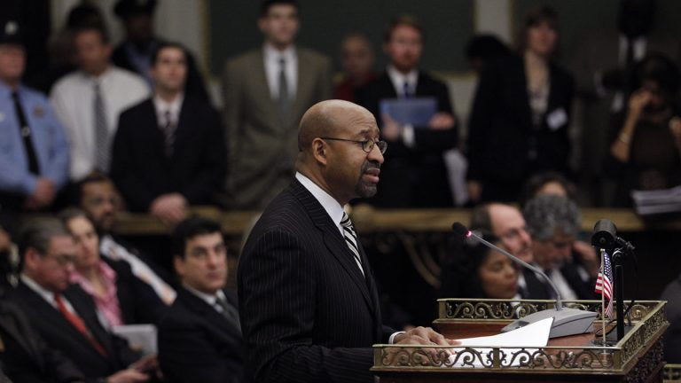 Philadelphia Mayor Michael Nutter delivers his budget address to city council at City Hall. (AP file Photo/Matt Rourke)