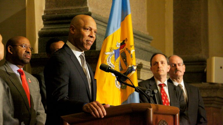 Philadelphia Schools Superintendent William Hite and Mayor Michael Nutter held a press conference about the budget shortfall.  (Nathaniel Hamilton/For NewsWorks, file)
