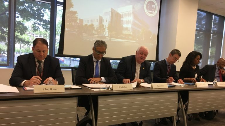 Kris Kolluri, (second from right) CEO of the Rowan University/Rutgers–Camden board of governors, says the goal is to train Alzheimer's journey coordinators with a strong understanding of the disease, but with an  individual-centered philosophy. (Anne Hoffman for NewsWorks)
