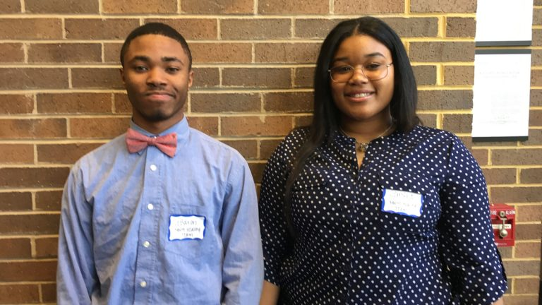 LeBaron Harvey (left) and Gemyra Wynn are part of the Hopeworks Youth Healing Team. (Anne Hoffman for NewsWorks)