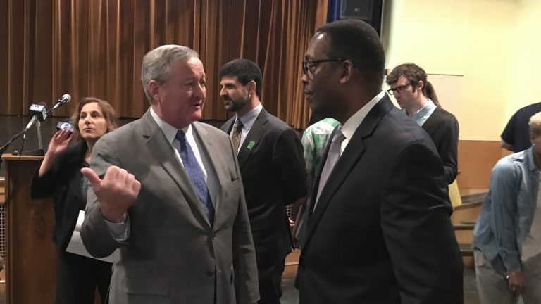 Philadelphia Mayor Jim Kenney and City Council President Darrel Clarke are concerned by what the see as state lawmakers wading into city politics. (Bobby Allyn/WHYY)