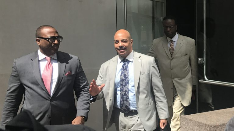 Philadelphia District Attorney Seth Williams leaves the federal courthouse during his corruption trial. (Bobby Allyn/WHYY)