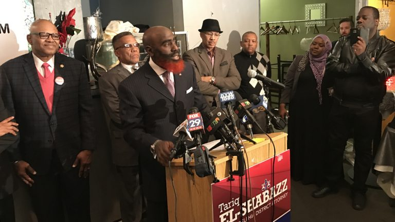Tariq El-Shabazz announces his campaign for Philadelphia District Attorney.  (Bobby Allyn/WHYY)
