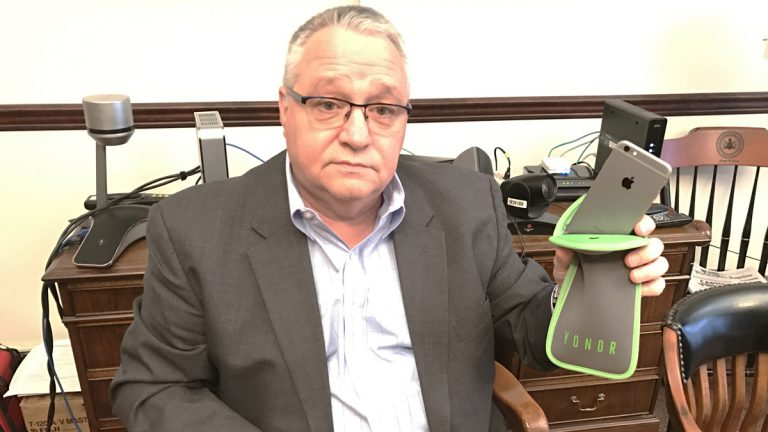 Joseph Evers, First Judicial District Court administrator, says, starting in April, most visitors to Philadelphia's criminal courthouse will have to put their phones in a locked pouch. (Bobby Allyn/WHYY)