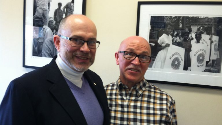 Born and bred Pennsylvanians and plaintiffs in the case, David Palmer (left) and Edwin Hill of Northampton County were married in Maine on May 10, 2013. Their marriage will now be recognized in Pennsylvania. (Emma Jacobs/WHYY)